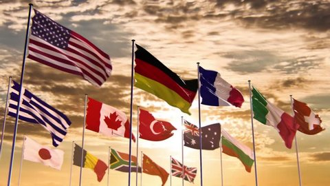 Flags of different nations, HQ animated on an epic sunset background