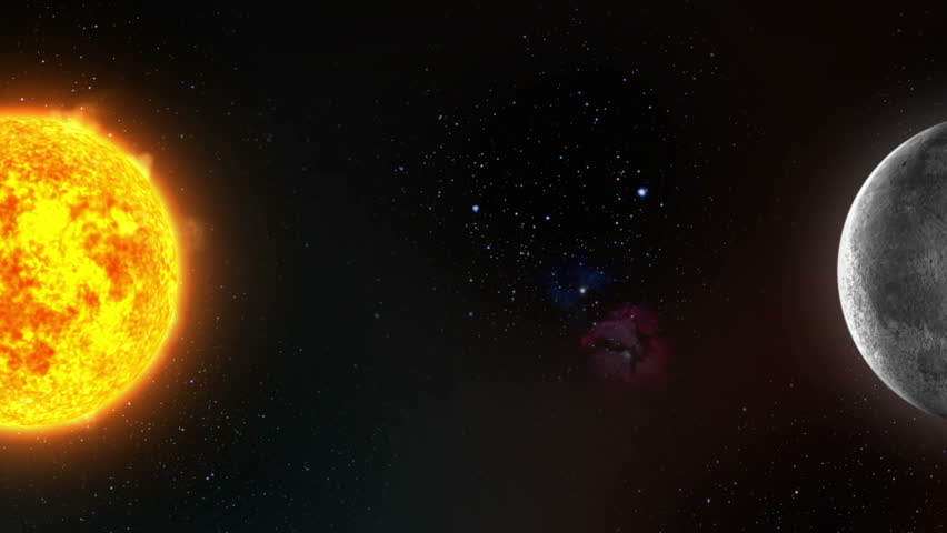 Planet Earth With Moon And Sun In Space Stock Footage