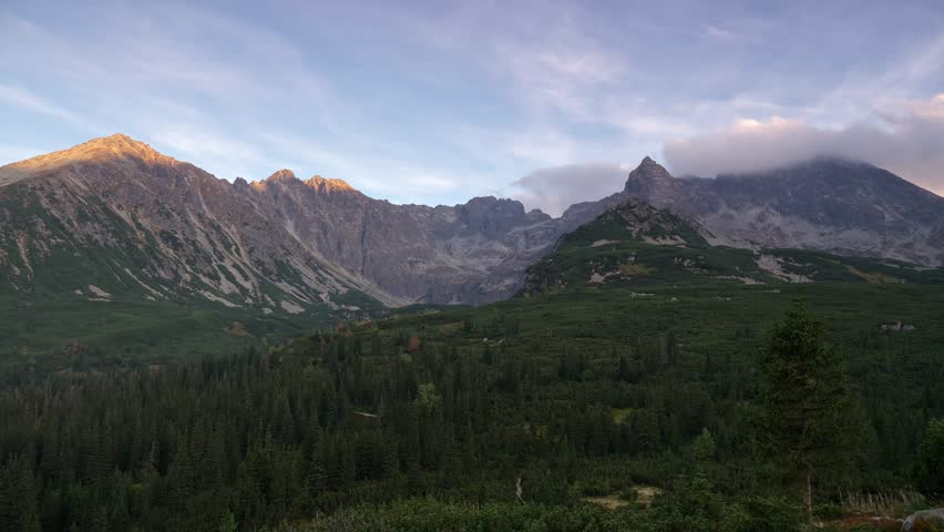 4K Tatra Mountains, Autumn/Fall, Breath taking time lapse, Mount Swinica, West Tatra, clouds passing over mountains, wood in valley, sunset,