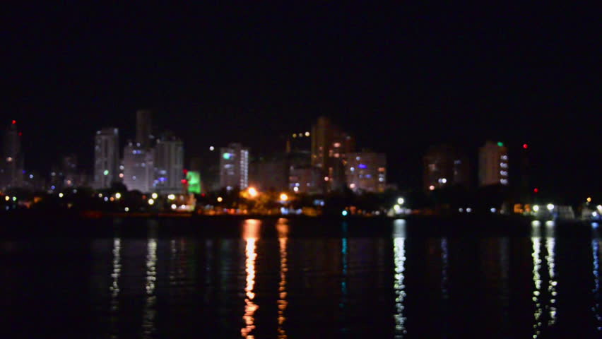 Modern Cartagena, Colombia coming into focus at night time