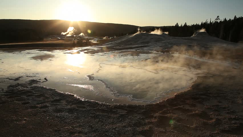 Old Faithful Geyser Basin in Yellowstone