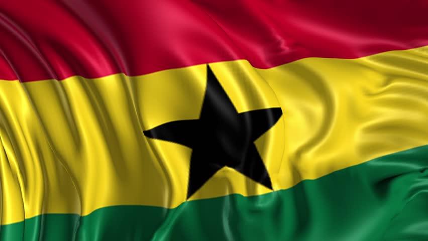 Flag of Ghana Beautiful   3d animation of Ghana flag in loop mode