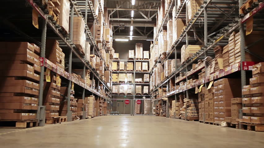 Moving camera along storehouse of goods in wholesale shop | Shutterstock HD Video #5483201
