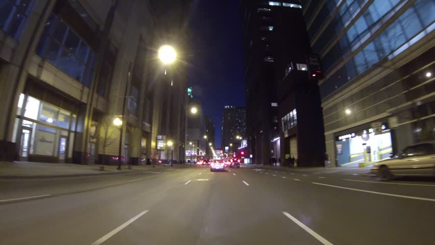 Driving Chicago Streets at Night with a GoPro Camera | Shutterstock HD Video #5496098