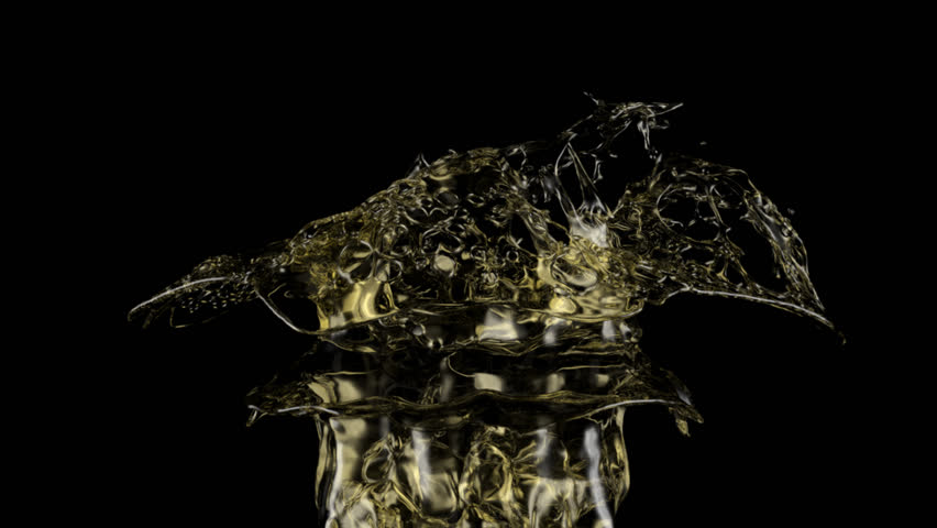 yellow soda splash in extreme slow motion, isolated on black (FULL HD)