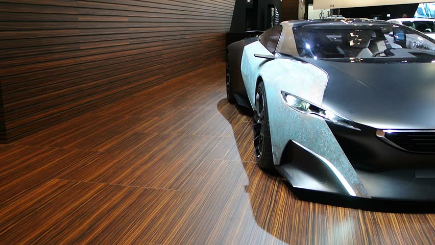 BRUSSELS, BELGIUM - JANUARY 14, 2014: Peugeot Onyx concept hybrid sports car. The Onyx is on display during the 2014 Brussels motor show.