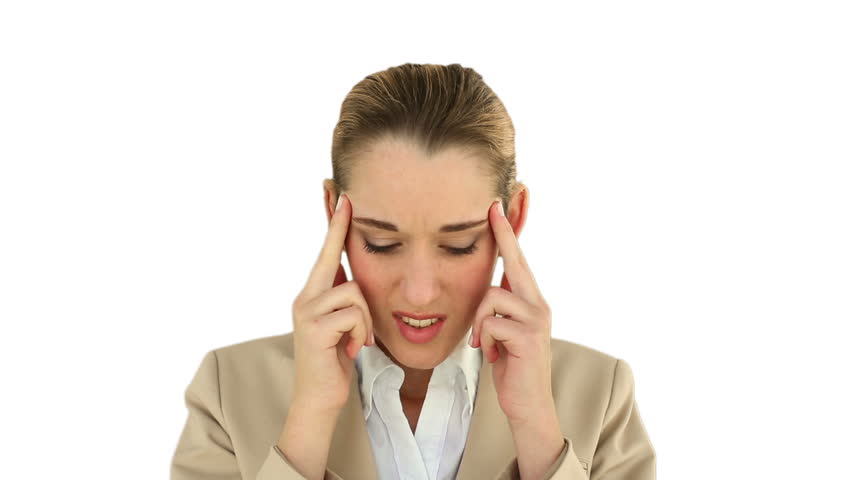 Businesswoman with a headache on white screen background - HD stock video  clip