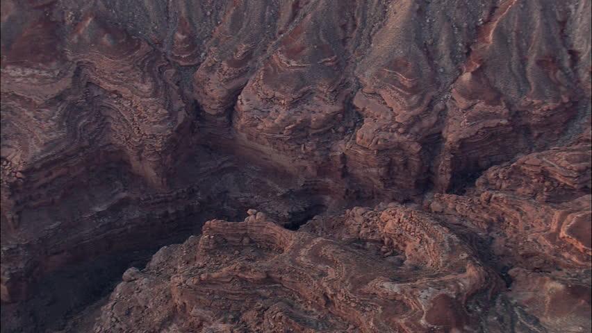 The Grand Canyon - Top down shot of The Grand Canyon - Colorado river running through Badlands
