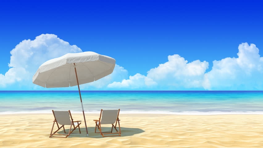 Beach chair and umbrella on tropical sand beach. Concept for holidays, resort, rest and travel design.