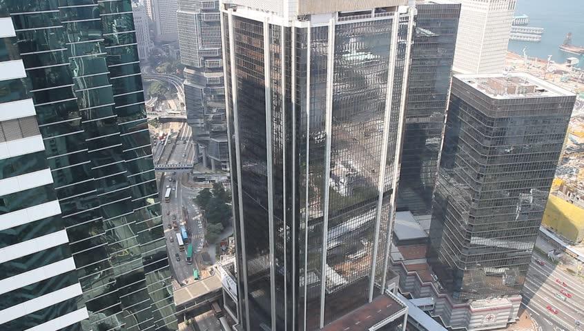 HONG KONG - CIRCA 2014: Hong Kong city view from high up in skyscraper. | Shutterstock HD Video #5638961