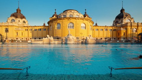 Budapest Spa Szechenyi Bath people swimming