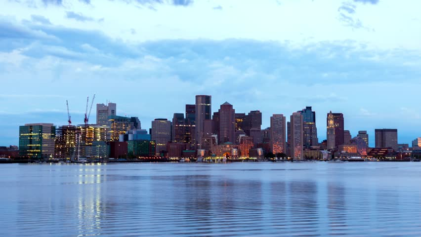 Timelapse of Boston Skyline in Massachusetts - USA