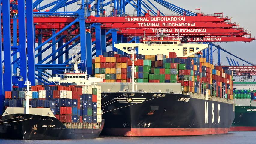 Container Ship Port of Hamburg - Germany - DSLR Time Lapse - September 2013  | Shutterstock HD Video #5700668