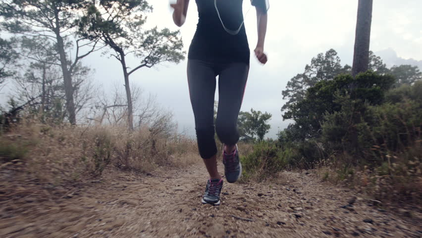 cf6f3dfb70e4 Woman Running Trail Close up Stock Footage Video (100% Royalty-free ...
