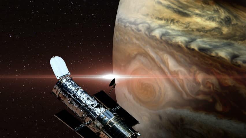 Interplanetary Space Station Orbiting Mars. 3D Animation ...