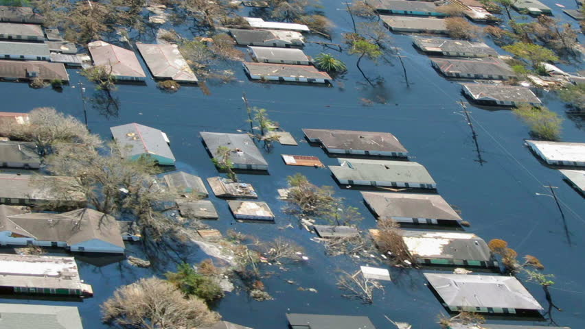 Heavy flooding natural disaster aerial, similar to flooding such as from Hurricane Harvey in Texas or Hurricane Irma.