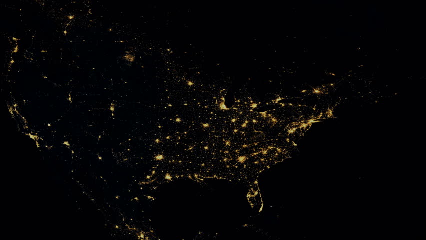 Massive North American power outage as seen from space