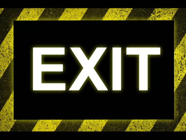 Exit Sign on Warning Background Texture With Common Black and Yellow Stripes