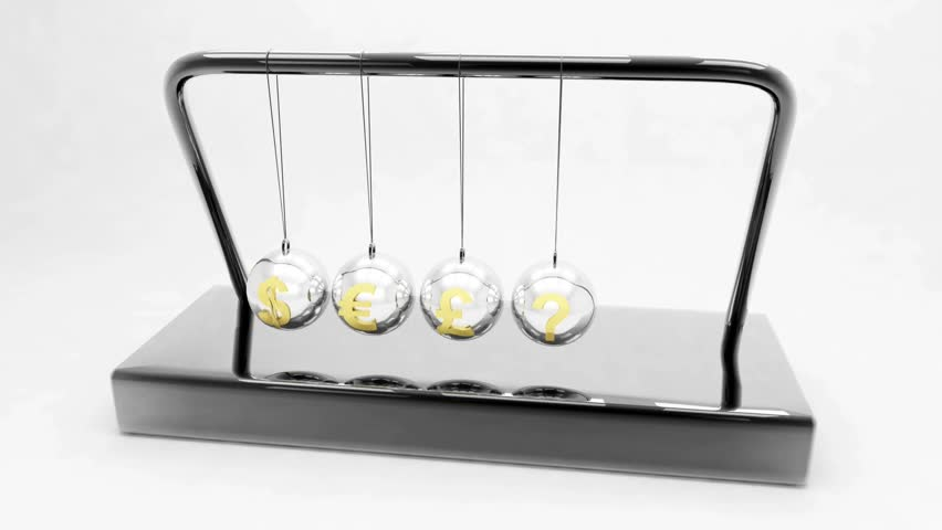 Newton's cradle in motion isolated over white