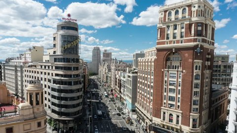 MADRID, SPAIN - October 3, 2013 - Time lapse view of Madrid skyline from Callao Square