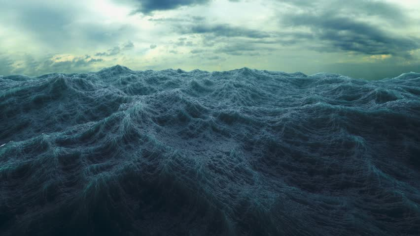 4k waves on  rough sea or stormy ocean (UHD, 3840 X 2160) Great popular marine Background