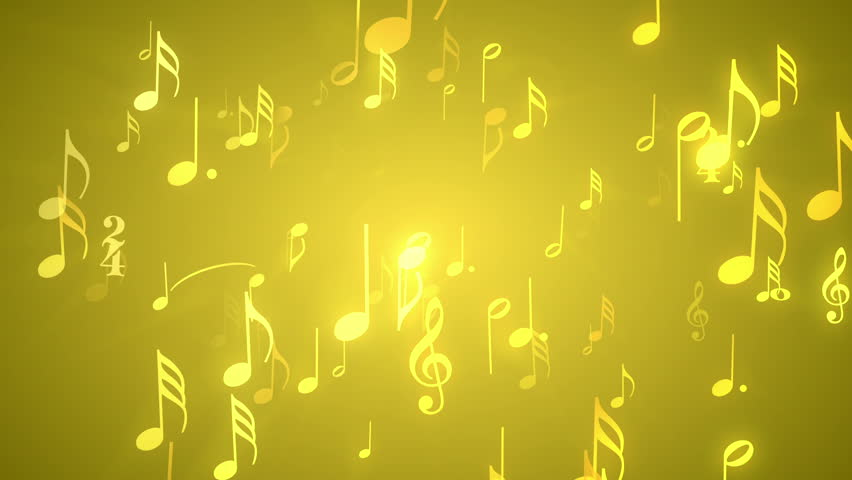 Musical Notes Gold - Music Themed Video Background Loop /// Musical notes and symbols gracefully move within a golden bright environment. Great for music events.