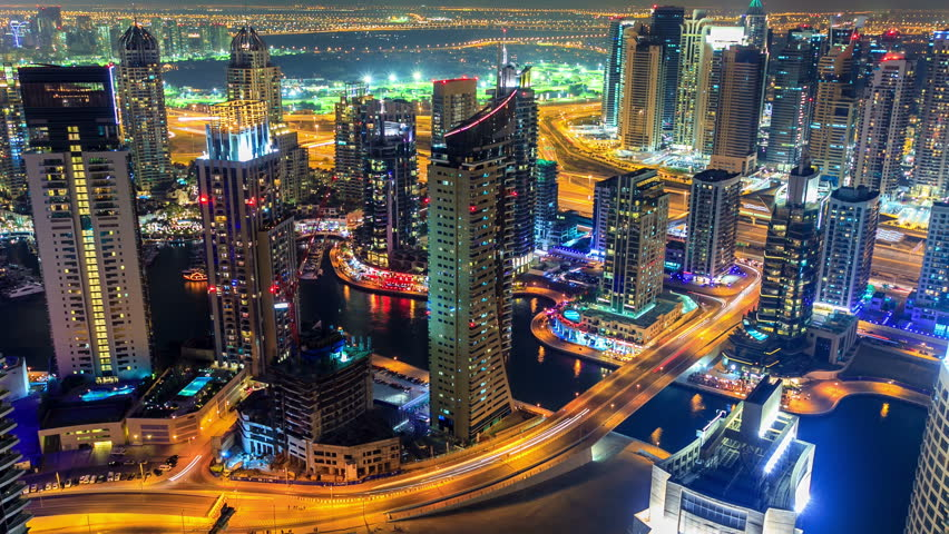 Dubai Marina panorama timelapse at night  with rapid zoom of skyscraper made from  the highest rooftop #5870528