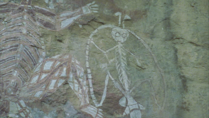 Nourlangie rock art depicting Lightning Man Namargon Ambangbang art site CU Barrgunj wife of Namarrgon. The name 'Nourlangie' is an anglicized version of Nawurlandja the name of a larger area that | Shutterstock HD Video #5876888