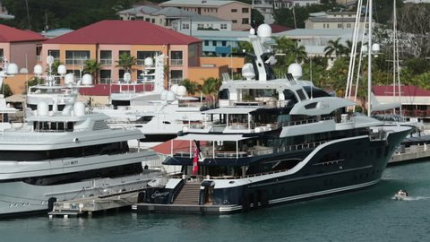 St Thomas Jan 2014 Luxury Private Yachts In Harbor Usvi Main Tourism Destination The Solandge At 279 Feet Charter At 1 Million Per Week Most Registered In Cayman Island Tourism Primary Income