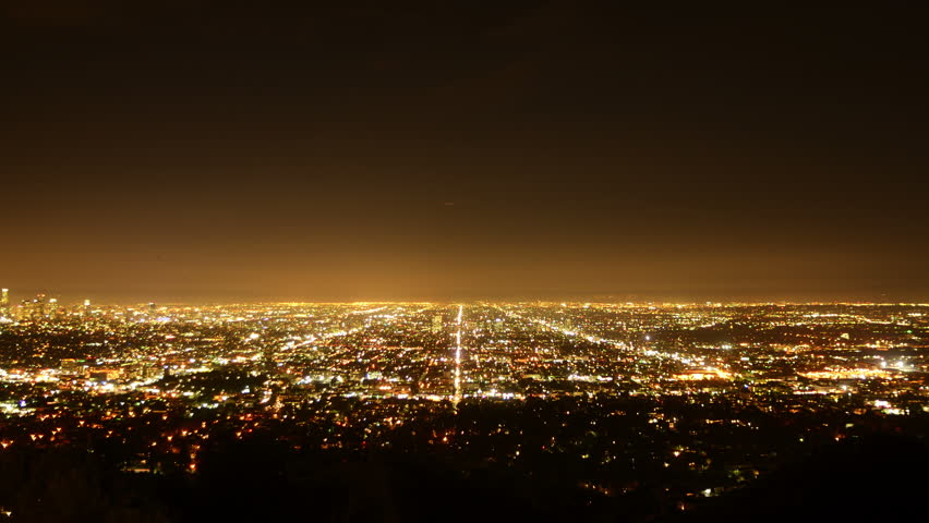 Los Angeles Night View 53 Zoom Out Timelapse Traffic