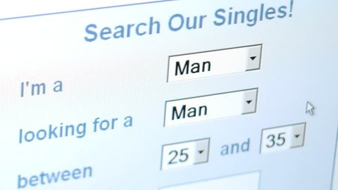 Homosexual gay online dating concept, man seeking man