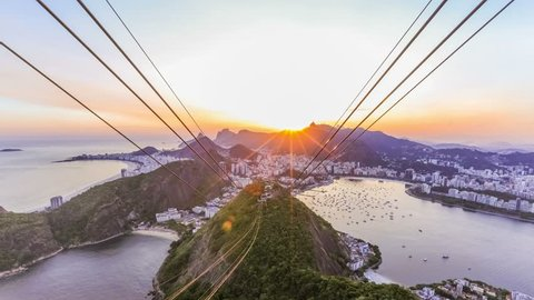 Rio De Janeiro cityscape time lapse of sunset over Christ The Redeemer from Sugar Loaf Mountain.