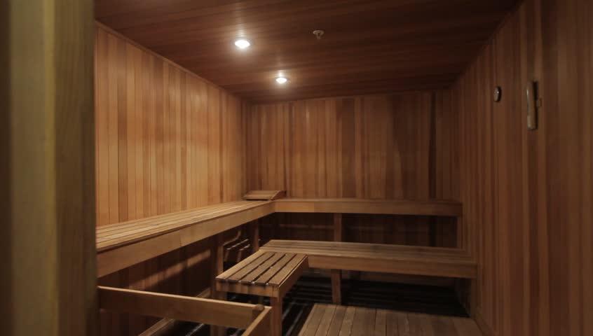 Sauna. Interior shot of sauna room with wood panels.