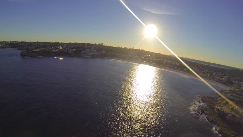 BONDI BEACH, SYDNEY,AUSTRALIA - CIRCA May 2013 :rare wide helicopter type aerial view of entire bondi beach