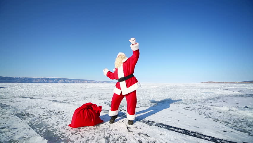 Dancing Santa Claus, Travel Santa on Lake Baikal