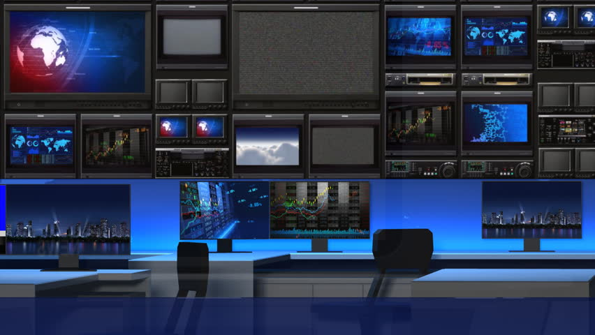 This is a 3-d News studio. It contains multiple camera angles,which is one of them.This video contains 2 fixed focus lens.The fixed focus lens is looping. | Shutterstock HD Video #6024518