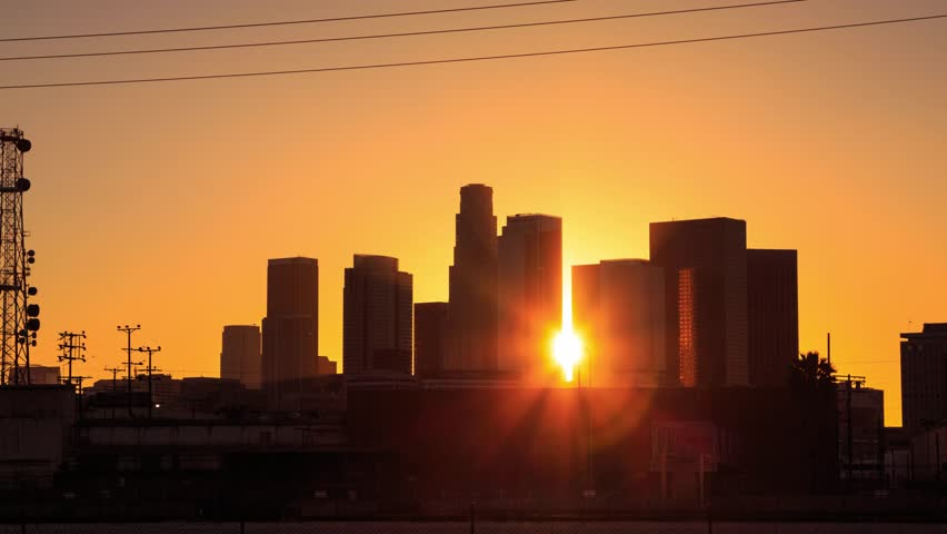 4K. Los Angeles city. Sunset over downtown LA skyline. Timelapse in motion (hyperlapse). | Shutterstock HD Video #6045653