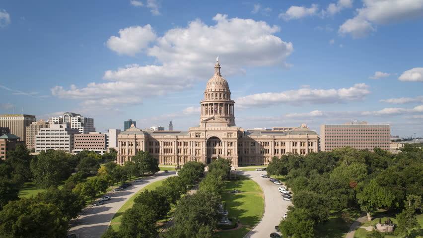 AUSTIN - CIRCA NOVEMBER 2013: Austin, Texas, USA, State Capitol Building, time-lapse