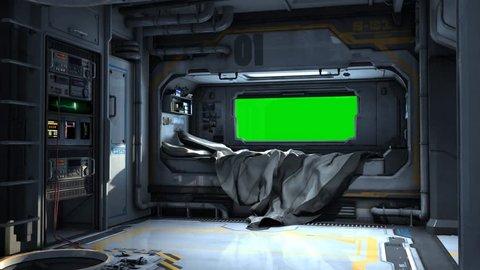 Scifi Spaceship Bedroom - Video Background - Green Screen