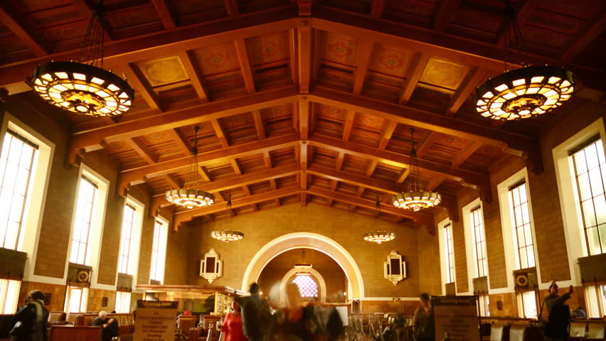Time Lapse of Historic Union Station in Los Angeles with Commuters in Motion Blur -Tilt Down-