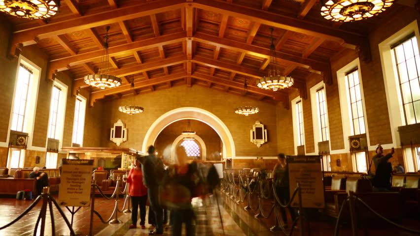 4K Time Lapse of Histoic Union Station in Los Angeles with Commuters in Motion Blur -Pan-