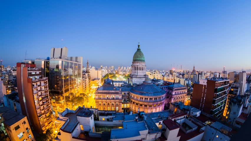 NIght view over the Buenos Aires Congress building with city in the background, Argentina