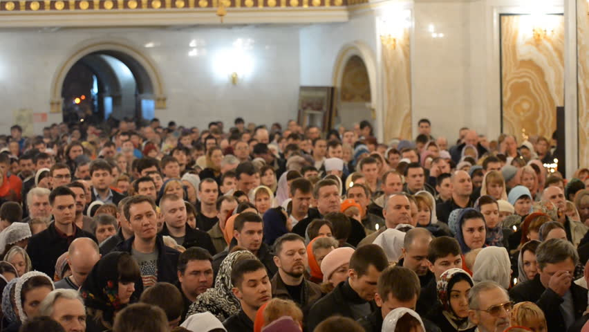 UFA, RUSSIA - MARCH 20: Easter service. Christ is Risen in a Russian Orthodox Church on MARCH 20, 2014 in UFA, Russia.  | Shutterstock HD Video #6200324