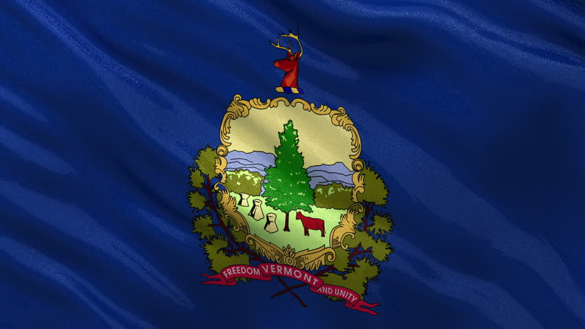Waving Flag Of The State Of Vermont America With The