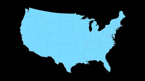 Virgina animated map video, starts with light blue USA National map with state border lines, a yellow Virgina map zooms out to fill center of screen, Black background.
