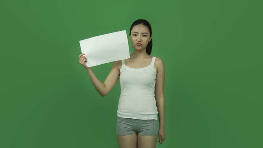 Asian Girl Naked Beauty Young Adult Isolated Greenscreen Green Background Worried -1242