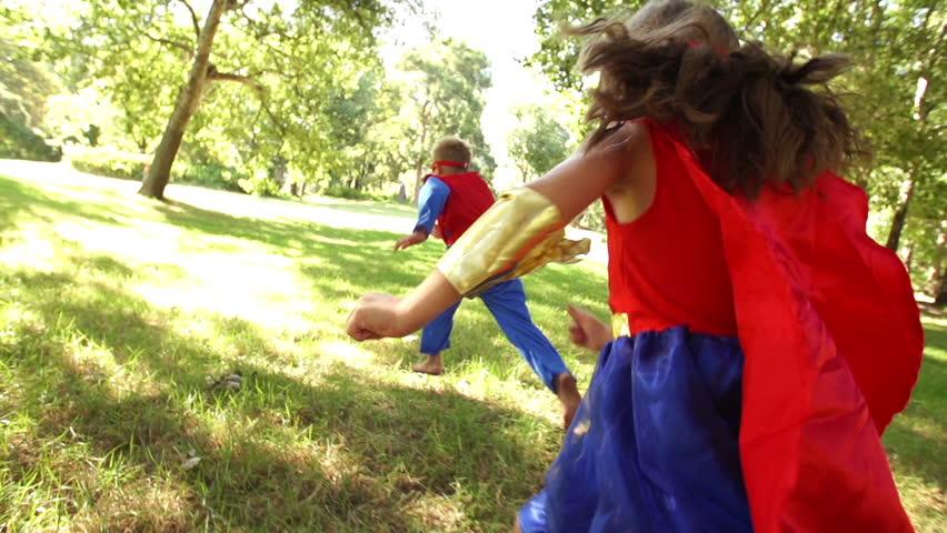 Happy superhero children