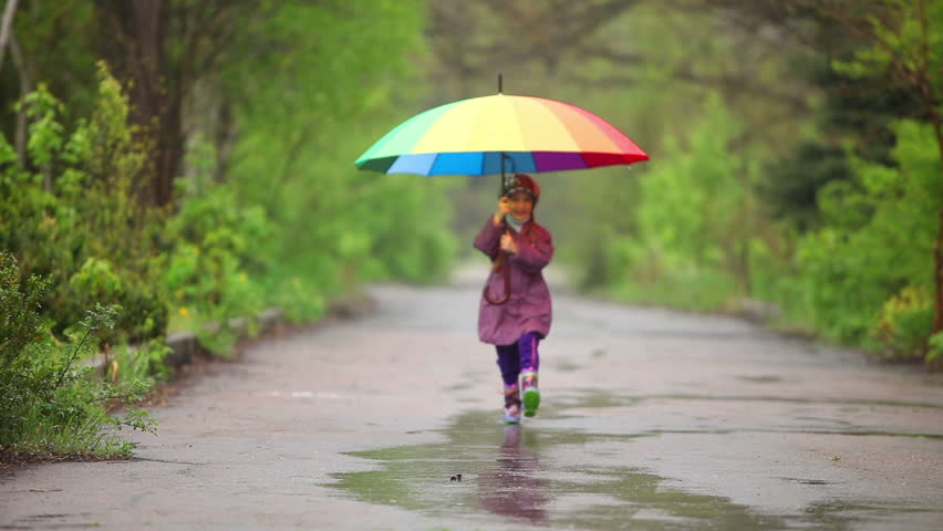 Happy Little Girl With Umbrella Stock Footage Video (100
