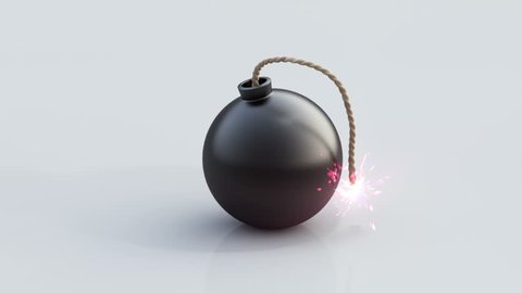 Bomb countdown. 10 seconds of bomb animation on white background.