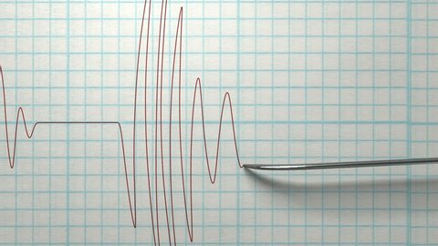A direct top view closeup pan of a polygraph lie detector test needle drawing a red line on graph paper